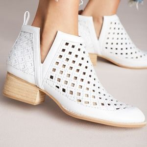 Jeffrey Campbell White Perforated Booties